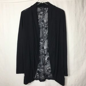 Forever 21 plus Black Lace Back Cardigan